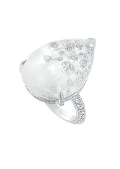 Boucheron Hotel de la Lumière Goutte Lumière white gold ring set with rock crystal and white diamonds