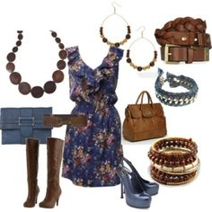 Blue floral with Brown leather and wood, by lea