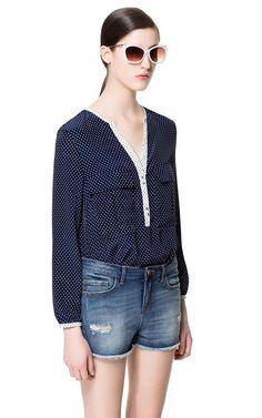 Image 2 of POLKA DOT PRINTED BLOUSE from Zara