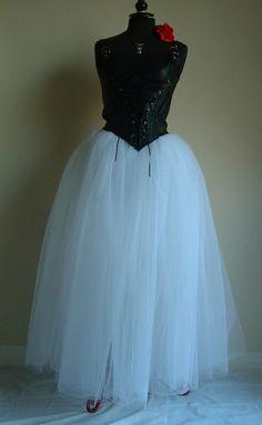 43814db073 long white tutu skirt net tulle goth fairy fantasy costume party ballet wedding  prom gypsy skirt US size
