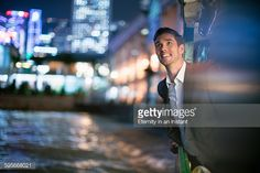 Stock Photo : Businessman travelling on Star Ferry in Hong Kong,