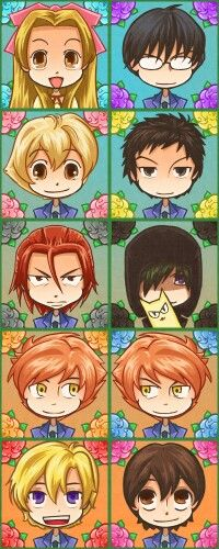 Anime/manga: Ouran High School Host Club Characters left to right: Renge, Kyoya, Honey, Mori, Ritsu, Umehito, Hikaru or Karou, Hikaru or Karou, Tamaki, Haruhi chibi. Kawaii.
