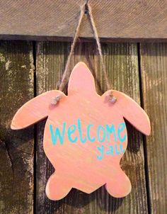 Small welcome y'all sea turtle wood hanging sign on Etsy, $14.00