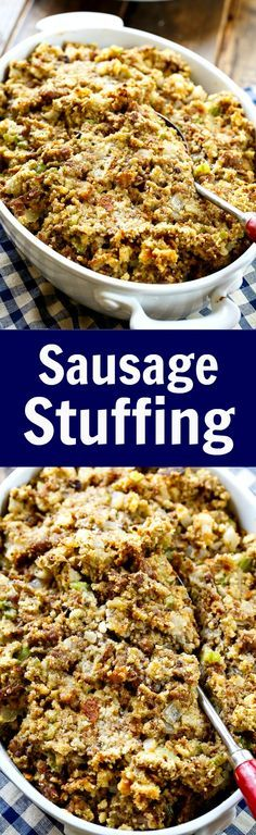 Sausage Stuffing. Lots of ground sausage, onion, celery, and sage make this a super tasty dressing for Thanksgiving.
