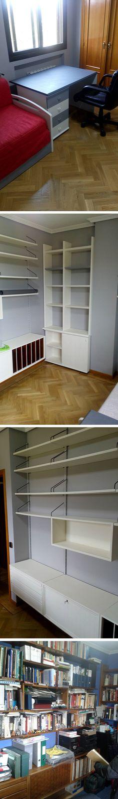 Pintura a la tiza en blanco y gris de un escritorio, una cama, dos estanterías y una librería modular. Pintura plástica gris en paredes.