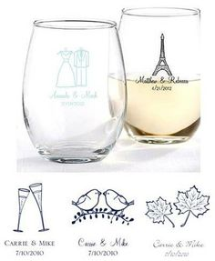 Custom stemless wine glass wedding favors! 215/ET. As low as $2.39 each. #wedding #wineglass #partyfavors