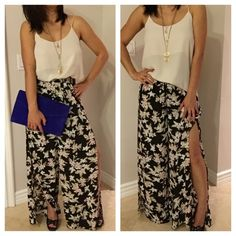 Floral print palazzo pant Brand New Never worn. Floral printed palazzo pants with side slits, front pockets and an elasticized waist.  Has shorts lining and sheer down . Comfy and airy pants perfect for summer. 60% cotton, 40% polyester. Flirty Meow Boutique Pants Wide Leg