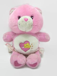 """CARE BEARS BABY HUGS 10"""" Plush Stuffed Animal Toy Pink w/ diaper Star and Heart"""