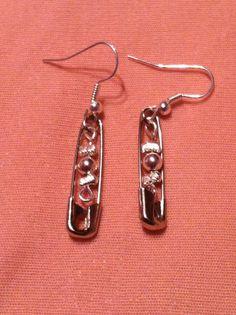 Metal Beaded Safety Pin Earrings by kawaiiko89 on Etsy, $5.00