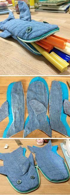 Shark Pencil Case - Fun Zipper Pouch - Unique Kids Gift Idea http://www.handmadiya.com/2016/10/shark-pencil-case-tutorial.html
