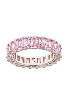 Pink Sapphire Eternity Ring by Maya J Sapphire Eternity Ring, Eternity Rings, Everlasting Love, Pink Ring, Pink Sapphire, Maya, Gem Stones, Gold Rings, Emerald Cut