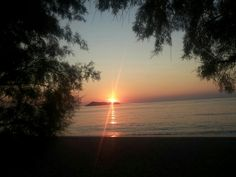 Beautiful sunset at petra, lesbos