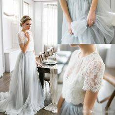 2016 Country Style Bohemian Bridesmaid Dresses Top Lace Short Sleeves Illusion Bodice Tulle Skirt Maid Of Honor Wedding Guest Party Gowns Black And Red Bridesmaid Dresses Bridesmaid Dress Ideas From Whiteone, $77.62  Dhgate.Com