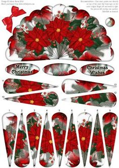 "This lovely fan has decoupage fan elements that overlap one another to create a beautiful image of Christmas poinsettias. Fan panels are numbered in order. This sheet could be used to make two cards, or layer elements onto main image to create one card. Included labels: ""Merry Christmas"", ""Christmas Wishes"", and one blank label you can customize as you wish. Embellish with ribbon, rhinestones, glitter, etc. as desired. Please click on my name to view more of my designs."
