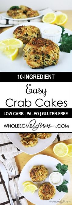 Easy Crab Cakes (Paleo, Low Carb) - These crispy, richly seasoned crab cakes are paleo, low carb, and super simple to make. Only 10 ingredients! | Wholesome Yum - Natural, gluten-free, low carb recipes. 10 ingredients or less.