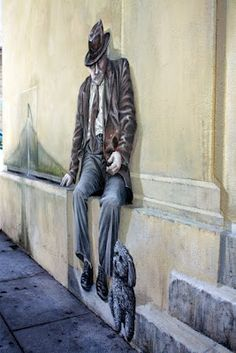 Avignon, France (street art, great, amazing, beautiful, cool, interesting, creative, man with dog, mural, wall painting)
