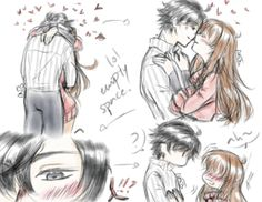 """ayumichans-art: """"""""doodle me this """" or in which mc spends half the time smothering jumin with kisses and the other half blushign like crazy because the man is just so damn hot cute """""""