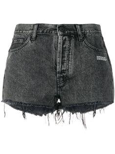 Off-White Logo Slogan Printed Denim Shorts - Farfetch Shorts Jeans Branco, Denim Shorts Outfit, White Denim Shorts, Jeans Dress, Black Jeans, Striped Pants, Short Jeans, Short En Jean, Wardrobe Images