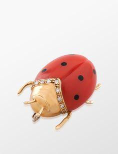 Molu Ladybug Brooch With Diamonds
