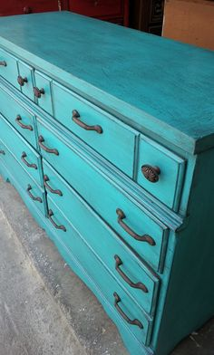 Distressed Turquoise Furniture | Maple six drawer dresser painted Turquoise, distressed, and with black ...