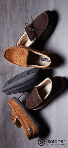 Kick back and relax this summer. Isotoner men's slippers provide lasting comfort and classic style to keep feet feeling and looking great. #KeepersofHandsandFeet