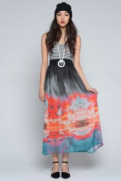 How Very Dare Sunset Digital Print Silk Maxi Skirt | Handmade in Brooklyn
