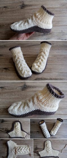 How to Make Stripes Slippers - Design Peak Scroll down for pattern in English Circular Knitting Needles, Loom Knitting, Baby Knitting Patterns, Knitting Socks, Crochet Patterns, Knit Slippers Free Pattern, Knitted Slippers, Crochet Shoes, Knit Crochet