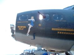 Nose art on replica of B-17 Memphis Belle