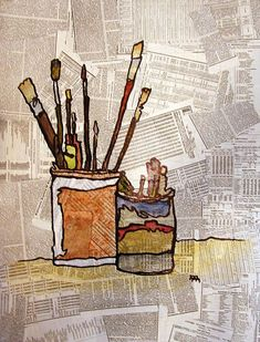 still life on newspaper background | Ideas for Art Projects | Pintere…