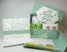 Oh Happy Day Stationary Box Mint Macaron openedwith card Dawn Griffith Christmas Medley, Stampin Up, Dawns Stamping Thoughts, Stationary Box, Christmas Catalogs, Color Card, Creative Gifts, Hostess Gifts, Craft Gifts