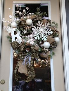 Wreath for my lake house that I can leave up all winter.  #Winter wreath -#Christmas wreath - #burlap wreath - #leopard wreath