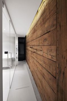 Espace St-Denis by Anne Sophie Goneau Design I Like Architecture Timber Walls, Wooden Walls, Wooden Wall Bedroom, Wooden Wall Design, Wooden Doors, Interior Architecture, Interior And Exterior, Exterior Doors, Modern Interior