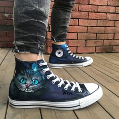 Cheshire Cat Converse All Star Sneakers Hand Painted Shoes Alice in Wonderland Converse All Star Sneakers, Converse Shoes, On Shoes, Me Too Shoes, Shoe Boots, Canvas Sneakers, Custom Converse, Black Shoes, Best Nursing Shoes