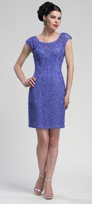Periwinkle Lace Cap Sleeve Cocktail Dress