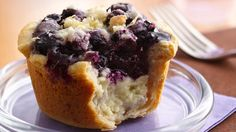 Looking for dessert made using Pillsbury® refrigerated biscuits? Enjoy these citrusy mini pies filled with cream cheese and blueberry filling; topped with streusel.