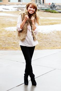 There's nothing like a fur vest to add some flair to an outfit.