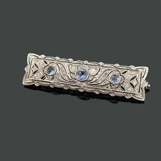 Crica 1930's art deco aquamarine and diamond set brooch. All set in 14ct white gold with French hallmarks. Diamond total weight 1.00ct
