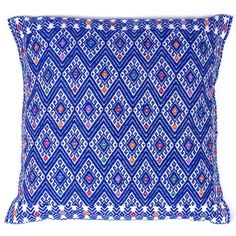 Hand-Embroidered Azure Pillow from Chiapas - Mexican Textile