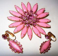 Designer Brooch Earring Set Judy Lee Pink by BrightgemsTreasures, $44.50