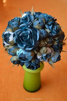 blue rose wedding bouquet - handmade using crepe paper