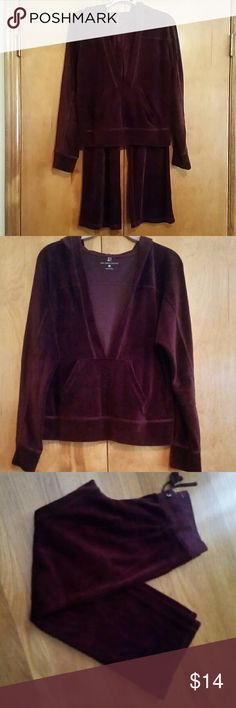 New York & Company Lounge Velour Set- Burgundy Nice, soft and comfy.  Top is the pullover V-cut style and the pants are bootcut.  80% Cotton,  20% Polyester. New York & Company Other