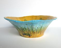 Paper Mache Bowl. Handmade Work Of Art. Blue Crab. Decorative Bowl. Coffee Table Bowl. Beach Scene. Sturdy Paper Bowl. Hand Painted Bowl. on Etsy, $40.00