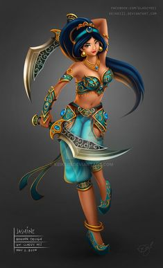 A badass Jasmine! Disney Battle Princess - Jasmine by on deviantART Disney Jasmine, Aladdin Et Jasmine, Disney Fan Art, Disney Princess Art, Disney Princess Warriors, Princess Luna, Disney And Dreamworks, Disney Pixar, Disney Characters