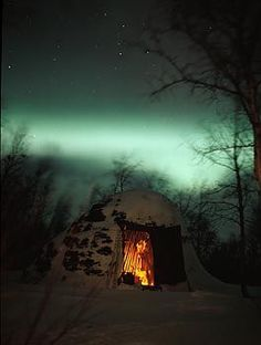 Sami hut and northern lights, Lapland Norway