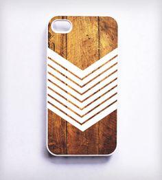 Dark Wood + Chevron iPhone Case