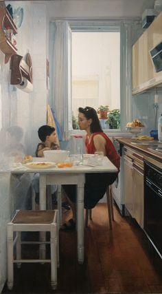 La Cocina, 1993 oil by Juan Moreno Aguado