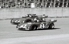That's Mario Andretti in the #2 312PB and the late Ronnie Peterson driving the #6 312PB at the 1972 Daytona 6-Hour Continental. Mario and co-driver Jacky Ickx finished first and Peterson and co-driver Tim Schenken finished second. This was the very first points race for the new 3-liter cars and the shortened race was to allay the fears of FIA that the new cars, with Formula One engines, might not last a 24 hour race. Porsche was noticeably absent from the Manufacturer's Championship this ...