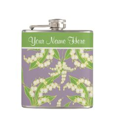 Pretty Floral Hip Flask: Lily of the Valley, Mauve