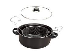 """Steel Non-Stick Deep Fryer Set Quickly prepare foods to crispy, golden perfection with this 3-Piece Steel Non-Stick Deep Fryer Set. Includes a 10"""" Dutch pan, a tempered glass lid and a wire fryer basket. Thickness is 0.5mm. Features an easy to clean coated surface. Ideal for gas and electric stoves, low to medium heat. Comes packaged in an individual box. Package measures approximately 10.75"""" x 10.5"""" x 4.5""""."""