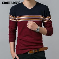 Pure Cotton Sweater Men Slim Fit Wool Pullover Men Casual Striped V-Neck Pull Home Men Sweaters Tops
